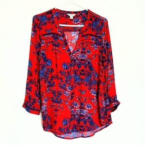 Lucky Brand Red & Blue Button Down Top